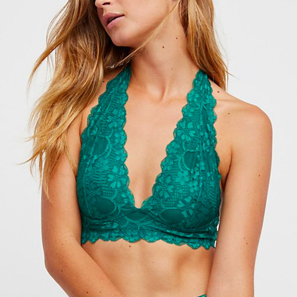 1c16449197 Free People Green Galloon Lace Halter Bralette
